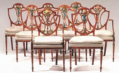 Antique Dining Room Sets For Sale by Fine Set Of Eight George Iii Satinwood And Painted Dining