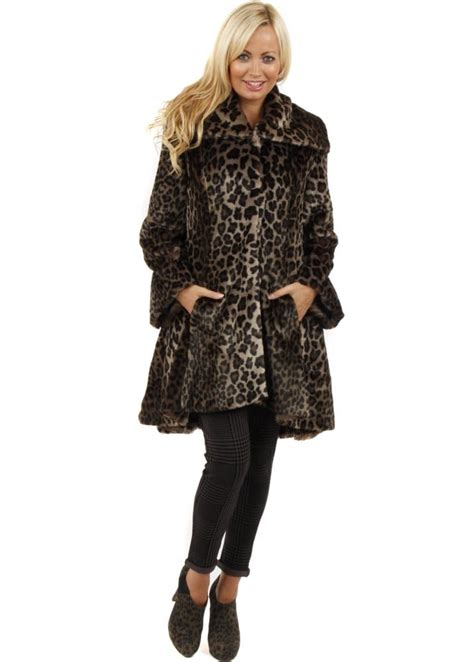 swing fur coat marble marble faux fur coat leopard peplum swing coat