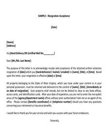 Sle Non Acceptance Of Resignation Letter From Employer Acceptance Letter Of Resignation Ideas 33 Acceptance Letters In Pdf 6 Resignation Acceptance