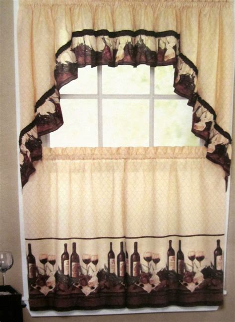 vino wine bottles tuscan kitchen curtain tier set valance