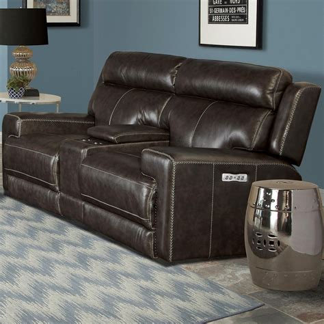 dual power reclining loveseat with console living glacier mgla 822cph gra contemporary dual