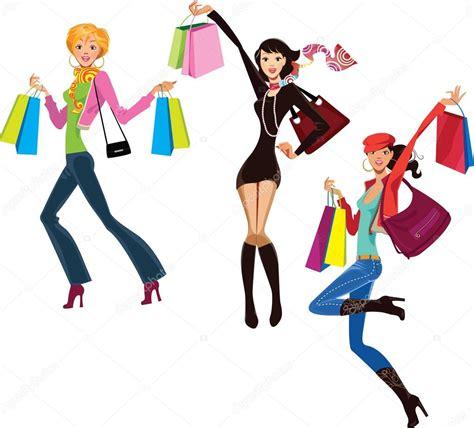 imagenes vectores compras mujeres felices con bolsas de compras archivo im 225 genes
