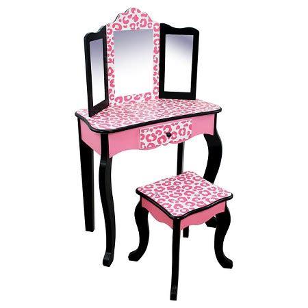Vanity Children by Vanity Table And Stool Set Wood Leopard Teamson