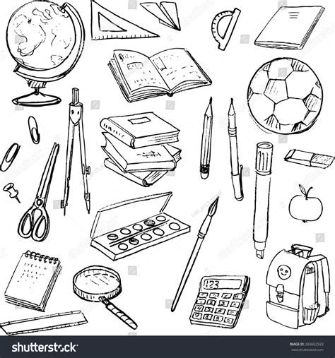 design elements in writing set school objects doodle tools learning stock vector