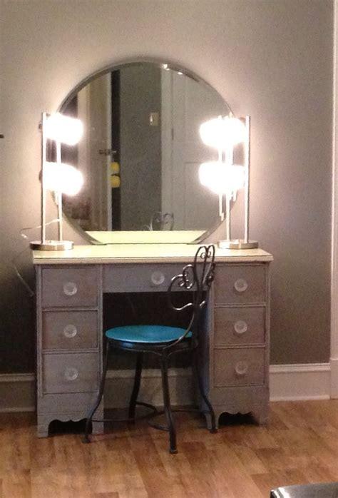 diymakeupvanity refinish  desk  lamps  wal mart wall mounted mirror  ebay knobs