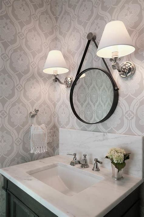 grey wallpaper powder room black and white powder room with cole and son summer lily