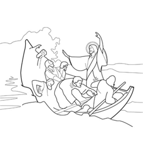 coloring page of jesus calming the sea jesus calming the storm at sea coloring page