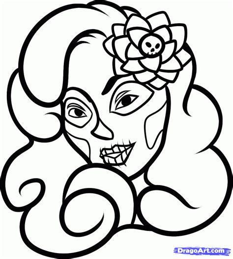 Day Of The Dead Drawings Easy by How To Draw Day Of The Dead Step By Step Pop