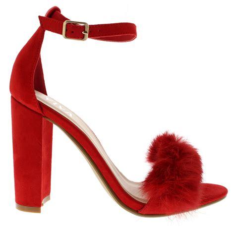 High Heels H 663 womens evening block heel fashion cut out high heels fluffy pumps uk 3 10 ebay