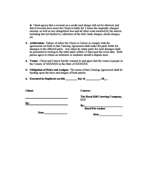 free sle catering contract template catering agreement free