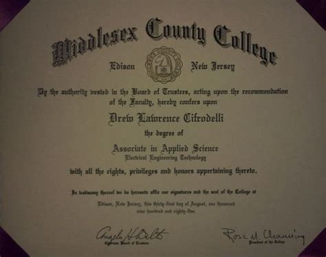 Middlesex Mba Fees by Middlesex County College Diploma Drew Cifrodelli