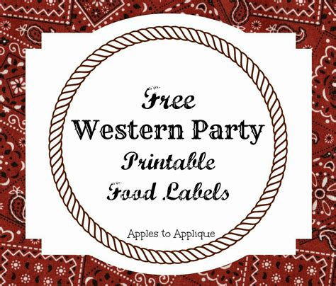 Free Template For Labels For Cards Western by Free Printable Food Labels For Western Themed