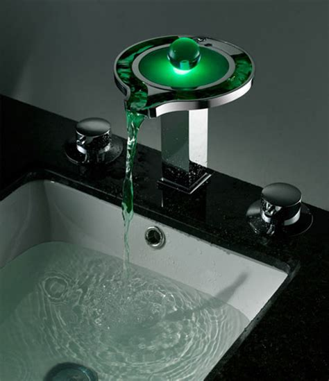Color Changing Led Waterfall Bathroom Sink Widespread Led Bathroom Faucet