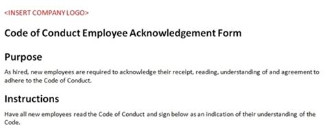 code of conduct form template code of conduct employee acknowledgement accounting template