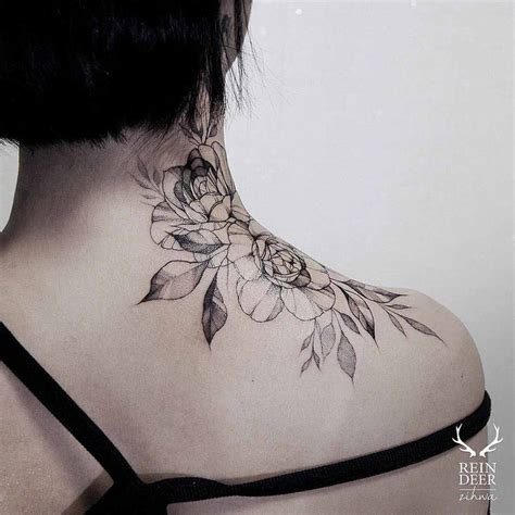 rose tattoo on back of neck best 25 on neck ideas on flower
