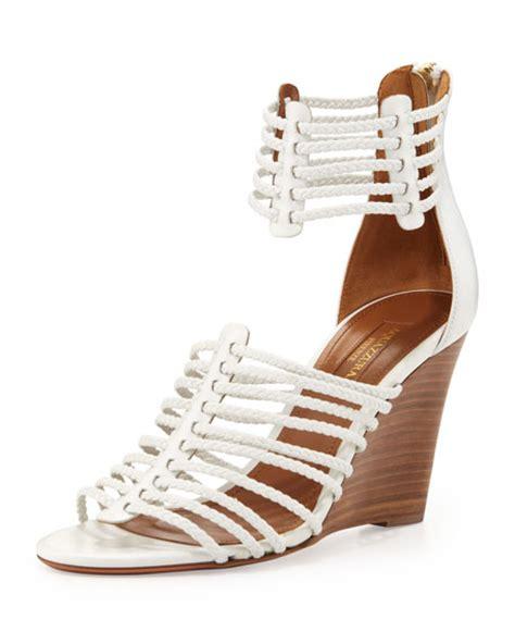 white strappy wedge sandals aquazzura venus strappy wedge sandal white