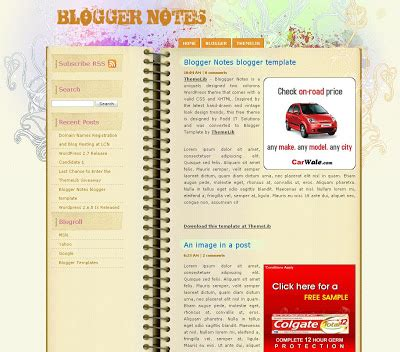 Some Free Blogspot Templates Crazy Blog Note 8 Skin Template