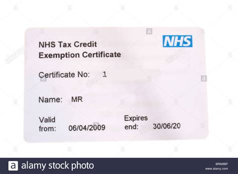 Credit Exemption Form Uq Up Of White Plastic Nhs Tax Credit Exemption Certificate Card Stock Photo Royalty Free