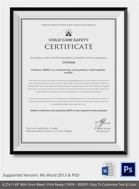 health and safety certificate template certificate template 14 pdf psd vector format