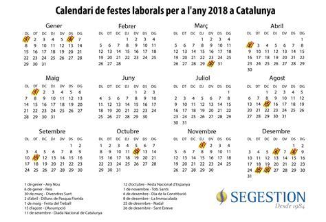 Calendario 2018 Catalunya El Calendario Laboral 2018 En Catalunya Tendr 225 15