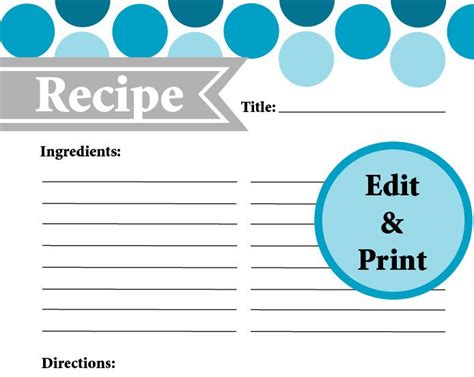 typeable recipe card template etsy page recipe card instant fillable