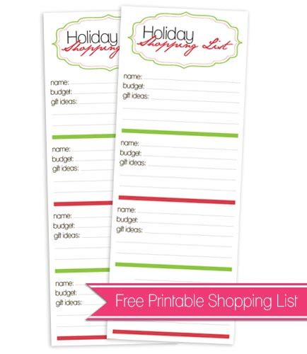 free printable holiday shopping list 6 best images of free cute shopping list printables free