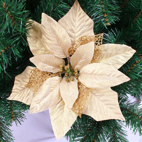 wholesale 10pcs lot 25cm gold artificial christmas flowers