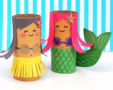 Free Toilet Paper Roll Crafts - toilet paper roll hula and mermaid