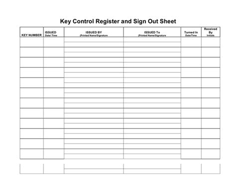 sle of key log sheet key register and sign out sheet in word and pdf formats page 2 of 3