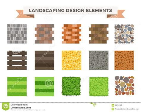 design elements garden landscaping icons vector illustration royalty free stock