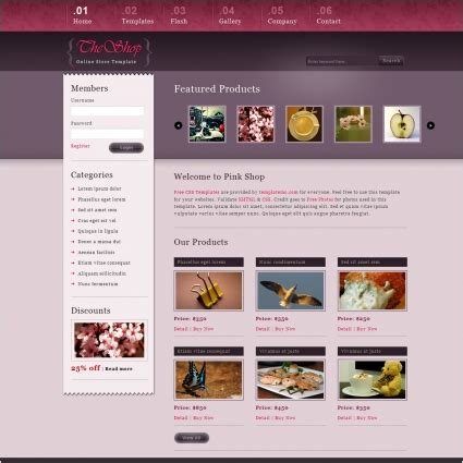 free templates for website with jquery slider pink shop free website templates in css html js format