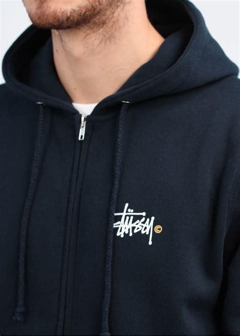 Hoodie Zipper Logo Ibm Navy stussy basic logo zip hoody navy