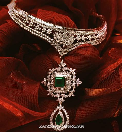 emerald choker necklace from tanishq south india