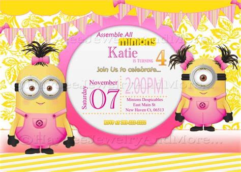 minions birthday invitation card template minions birthday card invitation minions theme birthday