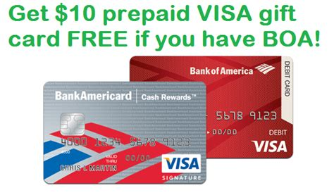 Visa Gift Card Bank Of America - enroll in bank of america visa checkout and get 10