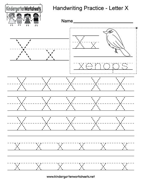 printable handwriting worksheets for kindergarten letter x writing practice worksheet free kindergarten