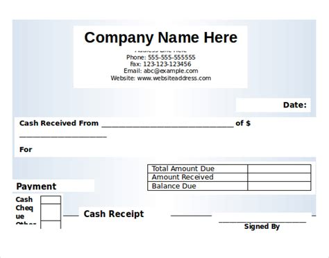 money receipt template microsoft word 12 free microsoft word receipt templates free
