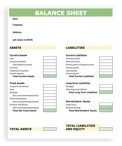balance sheet template simple balance sheet template for small business haisume