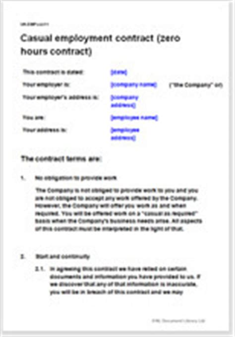hours contract template  employ casual workers