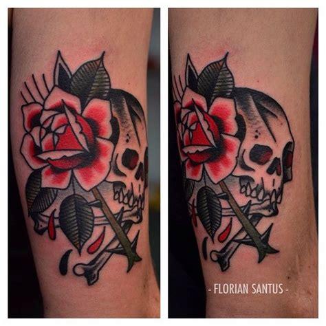 florian santus traditional rose and skull tattoo florian