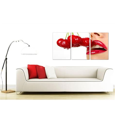 sexy art for bedroom cherry lips canvas wall art set of 3 for your bedroom