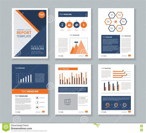 page layout of a report page layout design template for brochure flyer and report