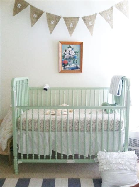 Burlap Crib Bedding by Mint Crib Burlap Bunting With Name Navy White Striped