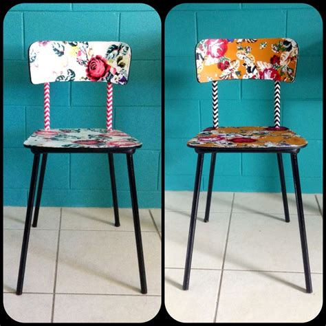 quirky fabric decoupage formica vintage chairs
