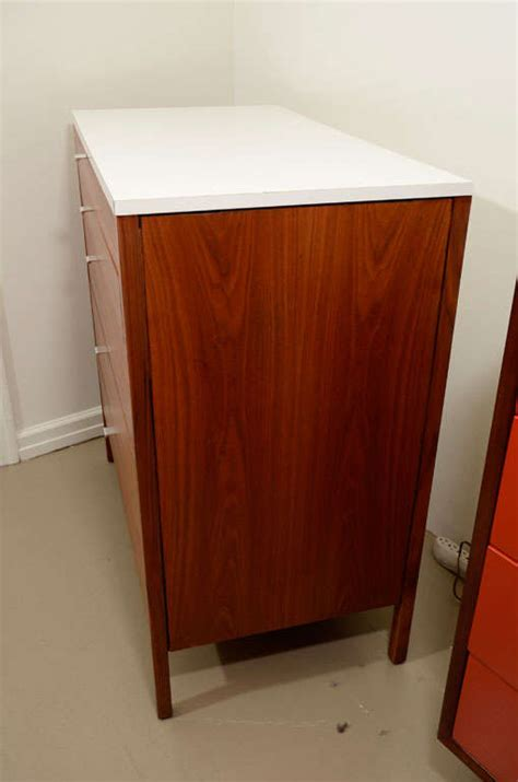 White Laminate Dresser by Florence Knoll Walnut And White Laminate Dresser At 1stdibs