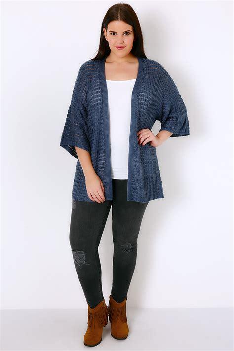 Kimono Stripe Cardi blue kimono cardigan with crochet stripe detail plus size