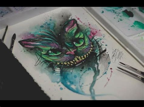 the cheshire cat watercolor tattoo by d 234 ner silva youtube