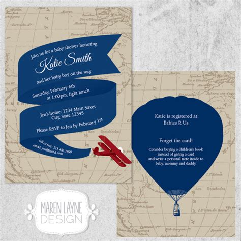 baby shower invitation travel world customize and print