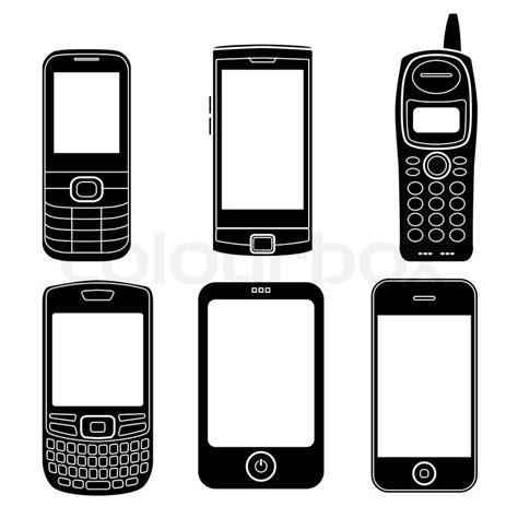 mobile phone set mobile phones silhouettes set stock vector colourbox