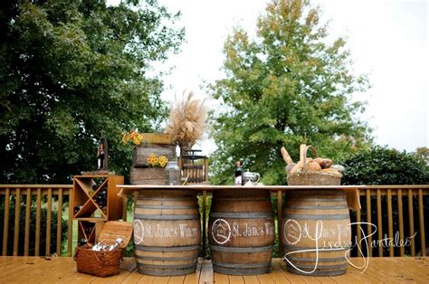 vineyard wedding decor with wine barrels photography